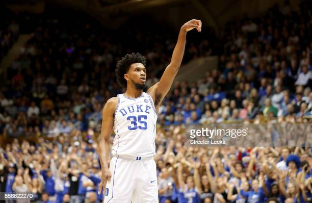Marvin Bagley III of the Duke Blue Devils reacts after a shot against the St Francis Red Flash during their game at Cameron Indoor Stadium on...