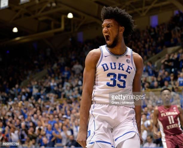 Marvin Bagley III of the Duke Blue Devils reacts after dunking against the Florida State Seminoles during their game at Cameron Indoor Stadium on...