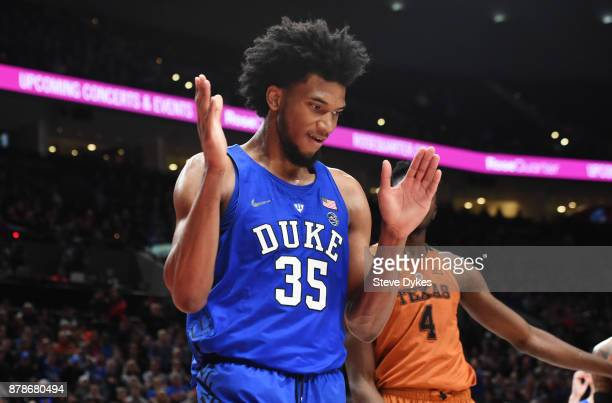 Marvin Bagley III of the Duke Blue Devils reacts after scoring late in the second half of the game against the Texas Longhorns during the PK80Phil...