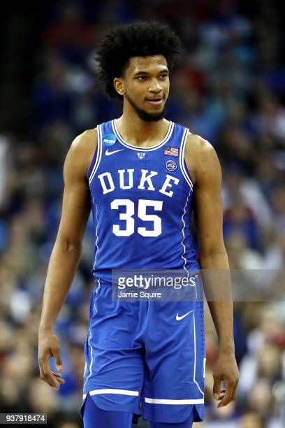 Marvin Bagley III of the Duke Blue Devils reacts against the Kansas Jayhawks during the second half in the 2018 NCAA Men's Basketball Tournament...