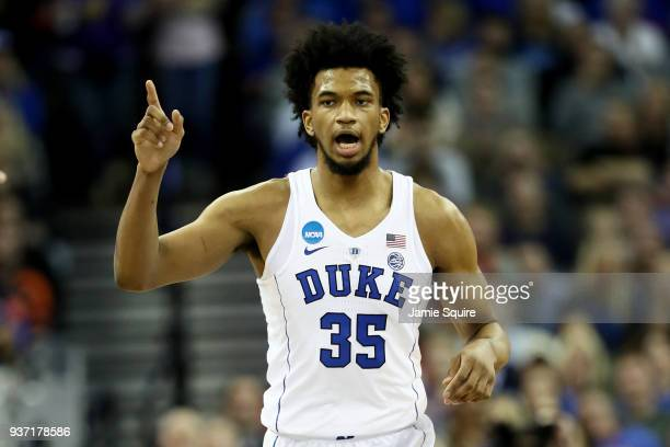 Marvin Bagley III of the Duke Blue Devils reacts against the Syracuse Orange during the first half in the 2018 NCAA Men's Basketball Tournament...