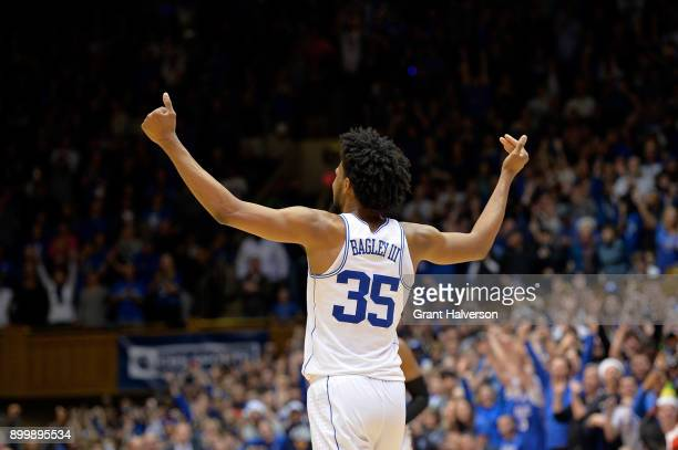 Marvin Bagley III of the Duke Blue Devils reacts as time expires in their game against the Florida State Seminoles at Cameron Indoor Stadium on...