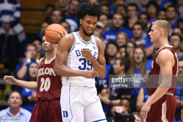 Marvin Bagley III of the Duke Blue Devils reacts during their game against the Elon Phoenix at Cameron Indoor Stadium on November 10 2017 in Durham...