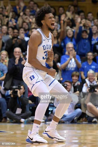 Marvin Bagley III of the Duke Blue Devils reacts during their game against the Utah Valley Wolverines at Cameron Indoor Stadium on November 11 2017...