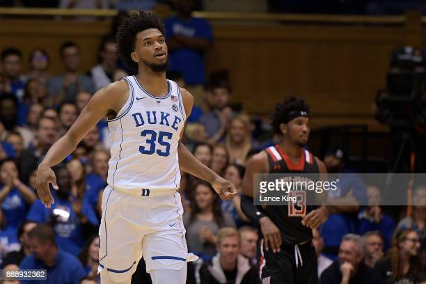 Marvin Bagley III of the Duke Blue Devils reacts during their game against the St Francis Red Flash at Cameron Indoor Stadium on December 5 2017 in...