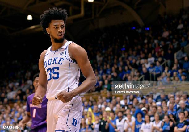 Marvin Bagley III of the Duke Blue Devils reacts during their game against the Evansville Aces at Cameron Indoor Stadium on December 20 2017 in...