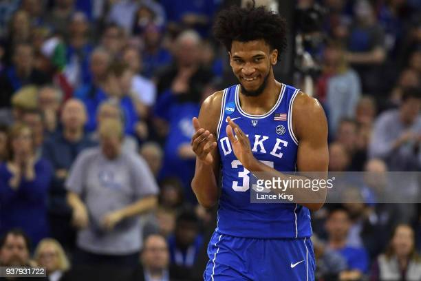 Marvin Bagley III of the Duke Blue Devils reacts during their game against the Kansas Jayhawks during the 2018 NCAA Men's Basketball Tournament...
