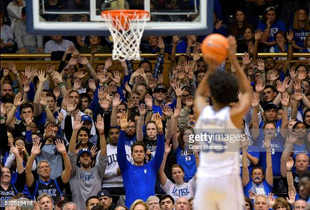 Marvin Bagley III of the Duke Blue Devils shoots a free throw against the Southern University Jaguars during their game at Cameron Indoor Stadium on...