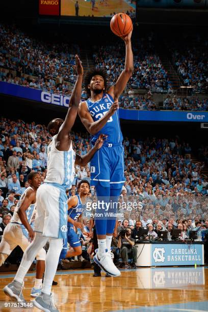 Marvin Bagley III of the Duke Blue Devils shoots the ball against the North Carolina Tar Heels on February 08 2018 at the Dean Smith Center in Chapel...