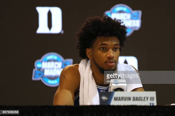 Marvin Bagley III of the Duke Blue Devils talks to the media during a press conference after being defeated by the Kansas Jayhawks in the 2018 NCAA...