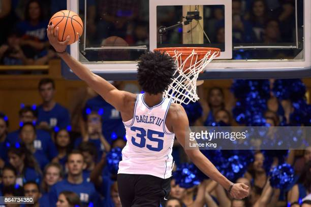 Marvin Bagley III of the Duke Blue Devils warms up prior to Duke Countdown To Craziness at Cameron Indoor Stadium on October 20 2017 in Durham North...