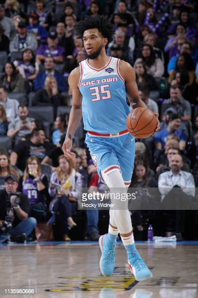 Marvin Bagley III of the Sacramento Kings brings the ball up the court against the Cleveland Cavaliers on April 4, 2019 at Golden 1 Center in...