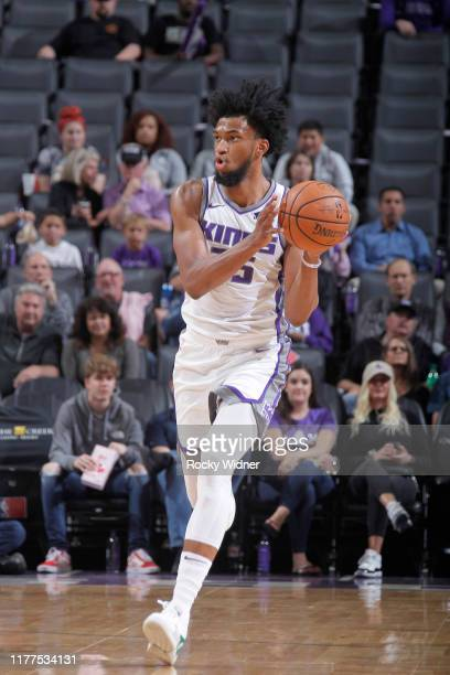 Marvin Bagley III of the Sacramento Kings brings the ball up the court againstl the Melbourne United on October 16, 2019 at Golden 1 Center in...