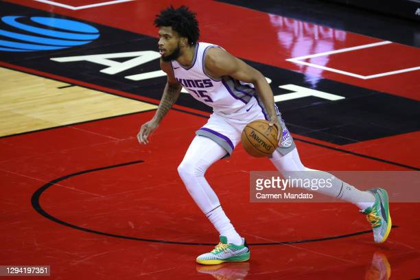 Marvin Bagley III of the Sacramento Kings controls the ball during the second quarter of a game against the Houston Rockets at Toyota Center on...