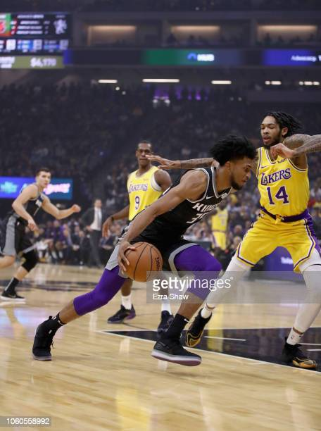 Marvin Bagley III of the Sacramento Kings drives on Brandon Ingram of the Los Angeles Lakers at Golden 1 Center on November 10 2018 in Sacramento...