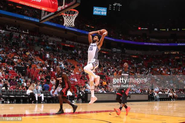 Marvin Bagley III of the Sacramento Kings dunks the ball against the Miami Heat on January 20, 2020 at American Airlines Arena in Miami, Florida....