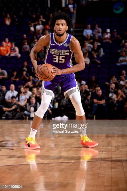 Marvin Bagley III of the Sacramento Kings handles the ball against the Phoenix Suns during a preseason game on October 1 2018 at Talking Stick Resort...