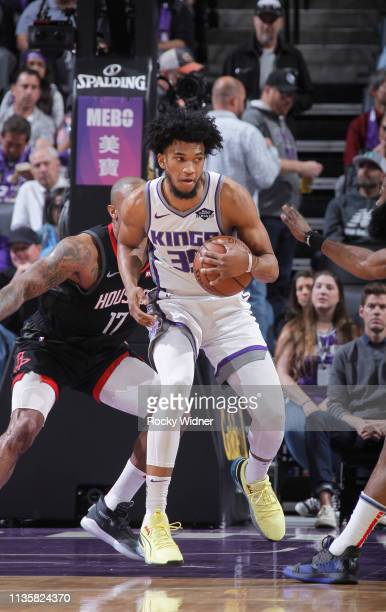 Marvin Bagley III of the Sacramento Kings handles the ball against the Houston Rockets on April 2, 2019 at Golden 1 Center in Sacramento, California....