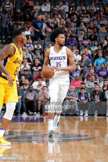 Marvin Bagley III of the Sacramento Kings handles the ball against the Los Angeles Lakers during the 2018 Summer League at the Golden 1 Center on...