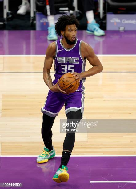 Marvin Bagley III of the Sacramento Kings in action against the Portland Trail Blazers at Golden 1 Center on January 13, 2021 in Sacramento,...