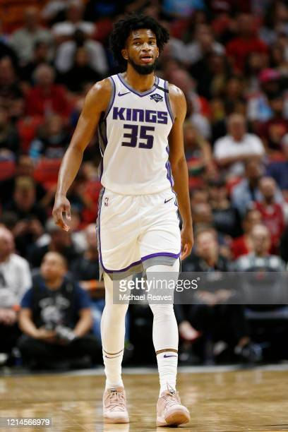 Marvin Bagley III of the Sacramento Kings in action against the Miami Heat during the first half at American Airlines Arena on January 20, 2020 in...