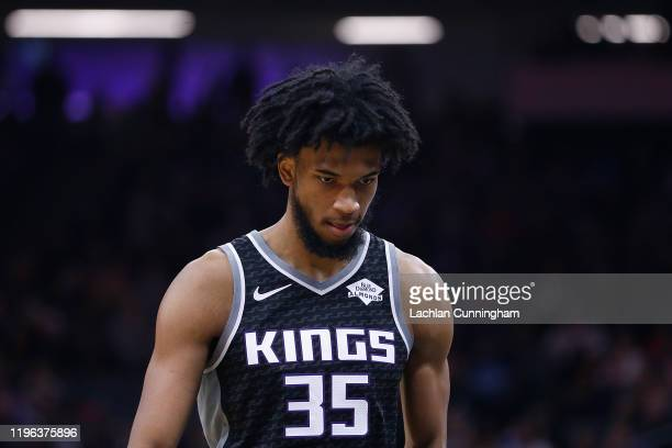 Marvin Bagley III of the Sacramento Kings looks on against the Minnesota Timberwolves in the first half at Golden 1 Center on December 26, 2019 in...