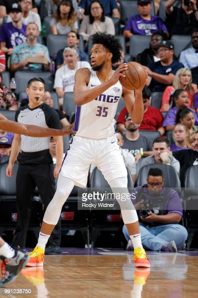 Marvin Bagley III of the Sacramento Kings passes the ball during the game against the Golden State Warriors on July 3 2018 at Golden 1 Center in...