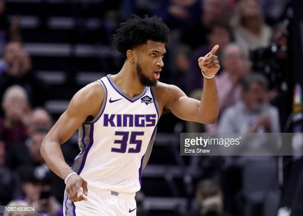 Marvin Bagley III of the Sacramento Kings reacts after making a shot against the Detroit Pistons at Golden 1 Center on January 10, 2019 in...
