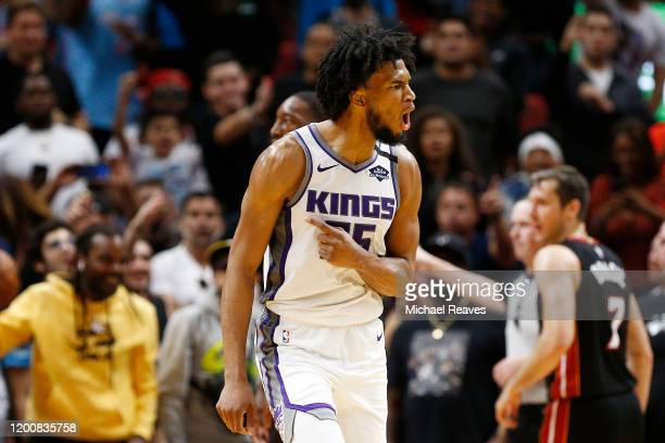 Marvin Bagley III of the Sacramento Kings reacts against the Miami Heat during the second half at American Airlines Arena on January 20, 2020 in...