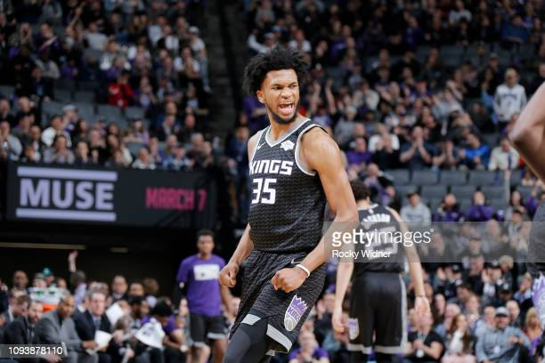 Marvin Bagley III of the Sacramento Kings reacts against the San Antonio Spurs on February 4 2019 at Golden 1 Center in Sacramento California NOTE TO...