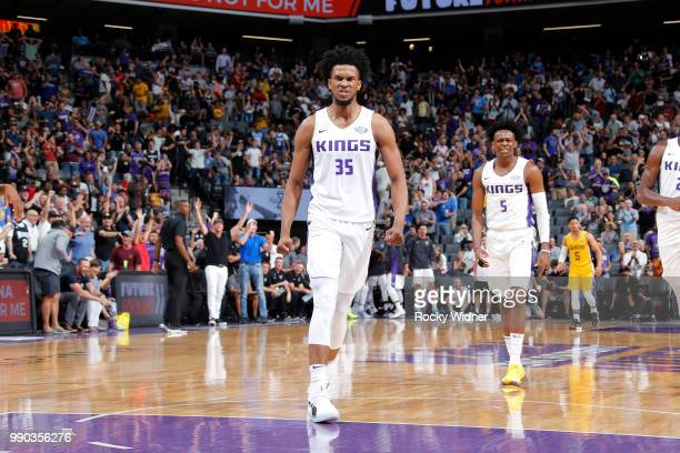 Marvin Bagley III of the Sacramento Kings reacts during the 2018 Summer League at the Golden 1 Center on July 2 2018 in Sacramento California NOTE TO...
