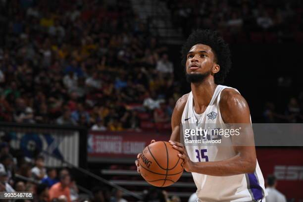 Marvin Bagley III of the Sacramento Kings shoots a foul against the Phoenix Suns during the 2018 Las Vegas Summer League on July 7 2018 at the Thomas...