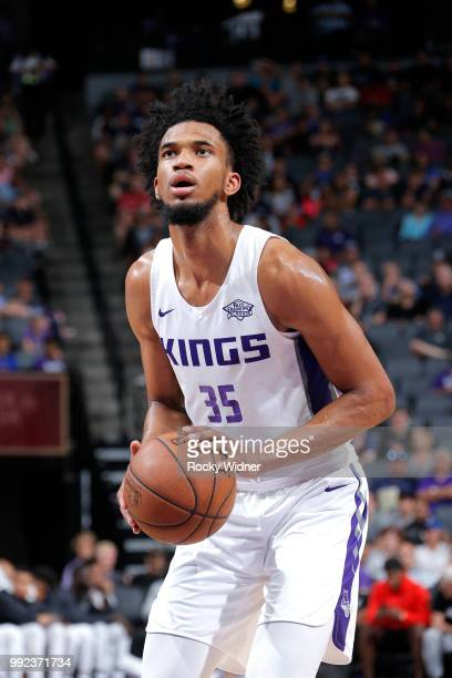 Marvin Bagley III of the Sacramento Kings shoots a freethrow against the Miami Heat during the 2018 Summer League at the Golden 1 Center on July 5...