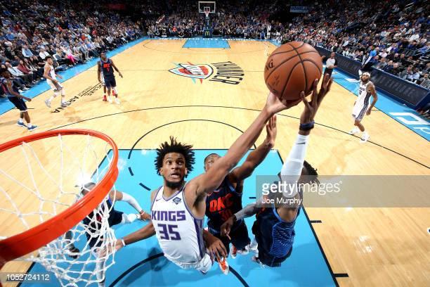 Marvin Bagley III of the Sacramento Kings shoots the ball against the Oklahoma City Thunder on October 21 2018 at Chesapeake Energy Arena in Oklahoma...