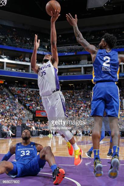 Marvin Bagley III of the Sacramento Kings shoots the ball against the Golden State Warriors on July 3 2018 at Golden 1 Center in Sacramento...