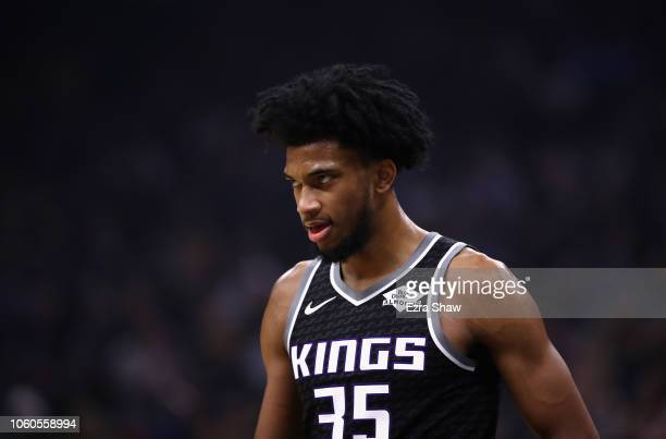 Marvin Bagley III of the Sacramento Kings stands on the court during their game against the Los Angeles Lakers at Golden 1 Center on November 10 2018...