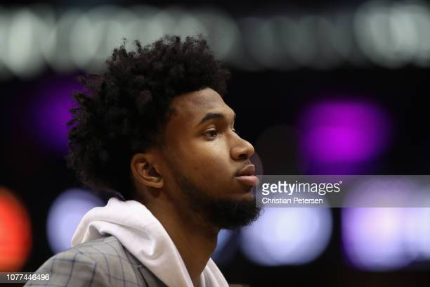 Marvin Bagley III of the Sacramento Kings stands on the court during the first half of the NBA game against the Phoenix Suns at Talking Stick Resort...