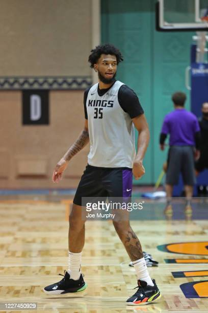 Marvin Bagley III of the Sacramento Kings walks on the court during practice as part of the NBA Restart 2020 on July 15, 2020 in Orlando, Florida....