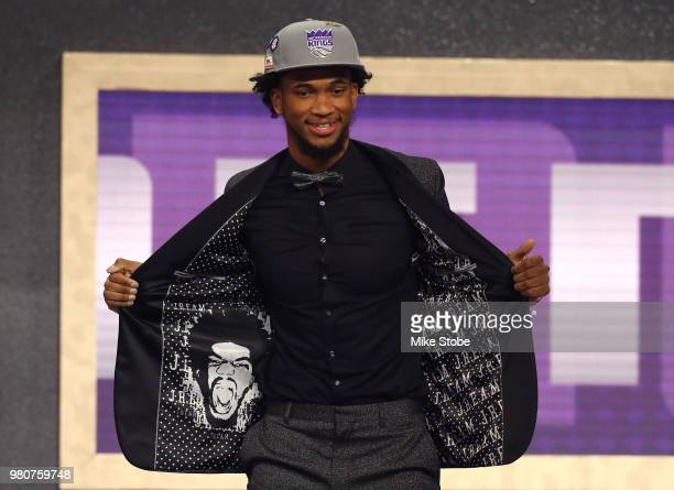 Marvin Bagley III poses after being drafted second overall by the Sacramento Kings during the 2018 NBA Draft at the Barclays Center on June 21 2018...