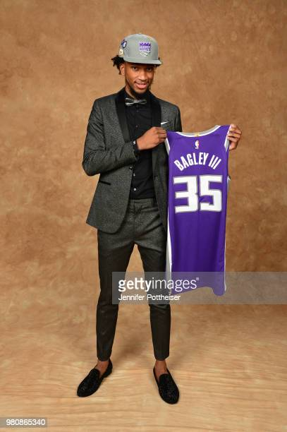 Marvin Bagley III poses for a portrait after being drafted by the Sacramento Kings during the 2018 NBA Draft on June 21 2018 at Barclays Center in...
