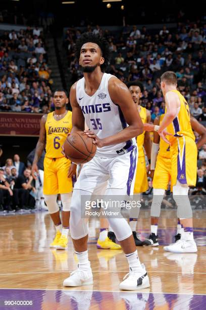 Marvin Bagley III shoots the ball against the Los Angeles Lakers during the 2018 Summer League at the Golden 1 Center on July 2 2018 in Sacramento...