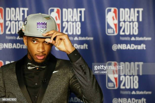 Marvin Bagley III speaks to the media after being selected second overall by the Sacramento Kings at the 2018 NBA Draft on June 21 2018 at the...