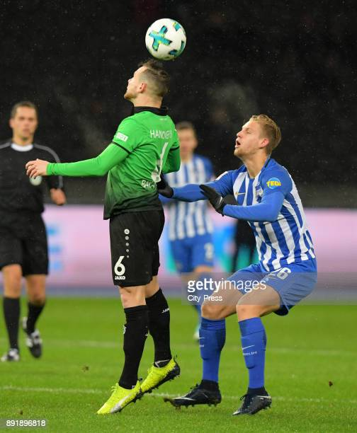 Marvin Bakalorz of Hannover 96 and Arne Maier of Hertha BSC during the game between Hertha BSC and Hannover 96 on december 13 2017 in Berlin Germany