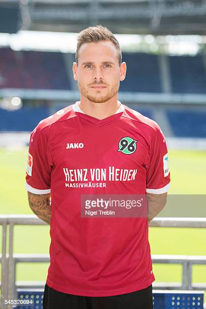 Marvin Bakalorz poses during the team presentation of Hannover 96 on July 7 2016 in Hanover Germany
