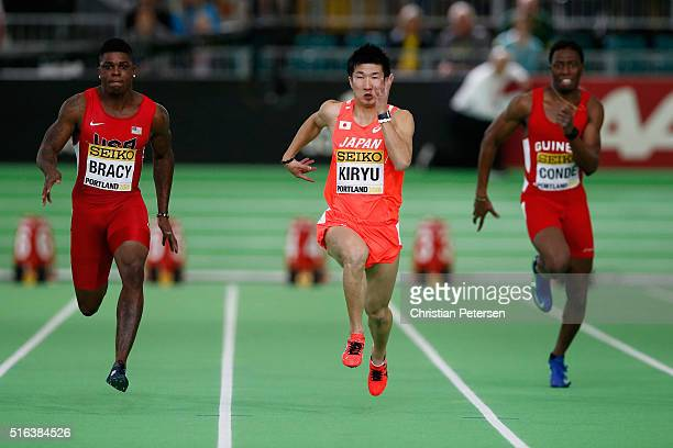 Marvin Bracy of the United States and Yoshihide Kiryu of Japan compete in the Men's 60 metre heats during day two of the IAAF World Indoor...
