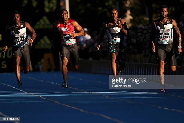 Marvin Bracy of the United States Yohan Blake of Jamaica Akani Simbine of Trinidad and Tobago and Keston Bledman of South Africa compete in the Men's...