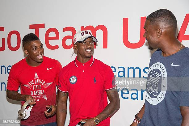 Marvin Bracy Trayvon Bromell Jordan Burroughs and United Airlines celebrate Team USA as over 85 US athletes get ready to board their flight at George...