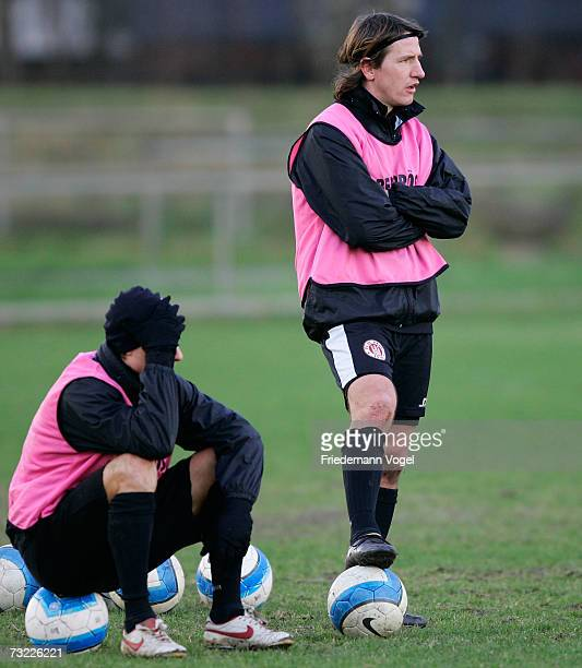 Marvin Braun and Daniel Stendel look on during the training session of FC St.Pauli on February 6, 2007 in Hamburg, Germany.