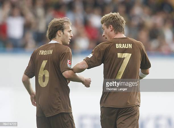 Marvin Braun and Filip Trojan of St Pauli are seen after Trojans first goal during the 2. Bundesliga match between SpVgg Greuther Fuerth and FC St....