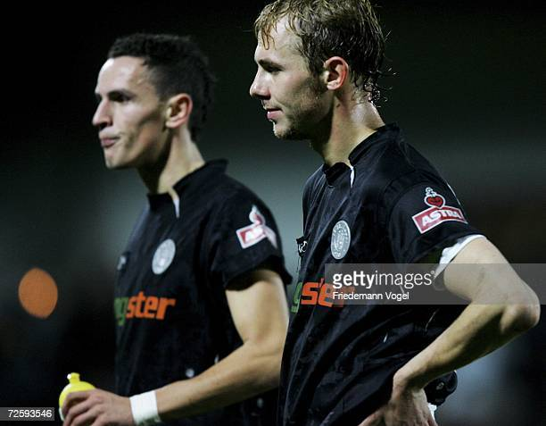 Marvin Braun and Hauke Brueckner of St. Pauli looks dejected after the Third League match between FC St.Pauli and Rot Weiss Erfurt at the Millerntor...